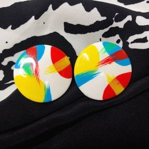 Vintage Primary Color Round Earrings 80's 90's